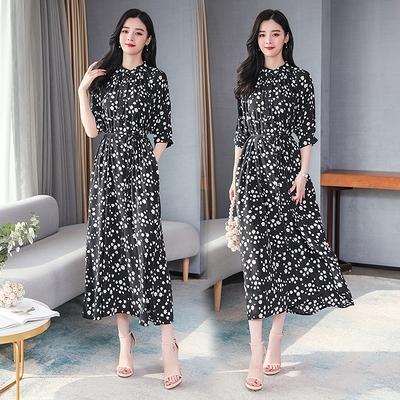 洋裝~小雛菊新款法式顯瘦氣質中長款收腰中長裙N2F-C08胖妹大碼女裝