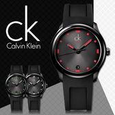CK手錶專賣店 K2V214DZ 中性錶 黑面紅刻度 石英 螢光指針刻度 膠質錶帶 礦物抗磨玻璃