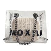 透明果凍包包手提子母包編織百搭字母單肩斜跨包