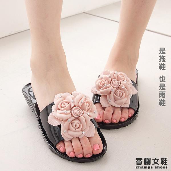防水拖鞋 鑽飾玫瑰防水平底拖鞋 香榭女鞋