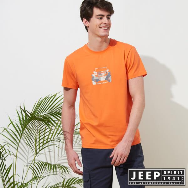 【JEEP】美式迷彩圖騰短袖TEE-橘