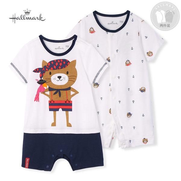 Hallmark Babies 竹系列冒險海盜貓春夏男嬰短袖連身衣(套包組) HH1B7409BBPN