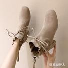 粗跟短靴女靴子秋冬季新款百搭馬丁靴英倫風高跟鞋加絨女鞋 EY9346『棉花糖伊人』