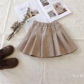 韓國2019夏季裝新品女童呢子半身裙百褶兒童短裙洋氣寶寶毛呢裙子