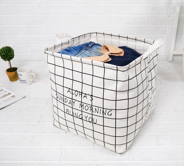 手提收納籃櫥櫃置物籃  大開口大容量棉麻防水方形折疊北歐簡約格紋衣物旅行髒衣桶-米鹿家居