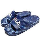 拖鞋 FILA 完全防水 復古 情侶鞋 運動拖鞋 藍 深藍 大理石紋路 男鞋 女鞋【PUMP306】 4S355R311
