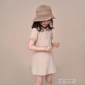 哈齒童裝兒童女童夏裝新款寶寶親子Polo中長款翻領短袖洋裝女夏 米娜小鋪