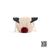 鉚釘/錬條包 馴鹿包包ra聖誕毛毛兒童包小鹿毛絨女包限量可愛小包斜背包麋鹿 玫瑰女孩