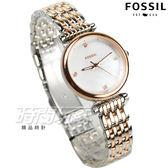 FOSSIL  晶鑽魅力氣質時尚女錶 珍珠螺貝面 防水手錶 玫瑰金x銀 ES4431【時間玩家】