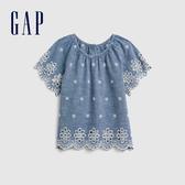 Gap女幼童創意鏤空刺繡圓領牛仔上衣577460-牛仔色