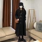秋冬新款復古法式氣質中長款黑色收腰顯瘦長袖風衣外套女學生聖誕交換禮物