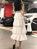 蛋糕裙 夏裝2020新款冷淡風連衣裙女復古正韓氣質中長款高腰吊帶蛋糕裙子【快速出貨】