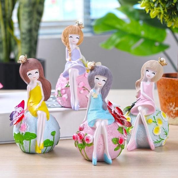 創意可愛美少女樹脂小擺件女生房間書桌裝飾品送女友閨蜜生日禮物【全館免運限時八五折】