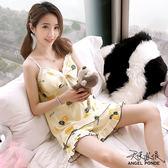 天使波堤【LD0384】甜美居家睡衣蕾絲小v領吊帶背心可拆胸墊二件式套裝睡衣大尺碼睡衣罩衫