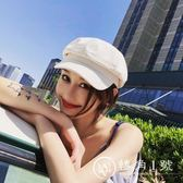 純色米色女士帽子夏季八角帽女英倫復古鴨舌帽貝雷帽夏天純棉春秋