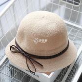 沙灘帽 蝴蝶結盆帽女女士盆帽出游女夏季遮陽帽春秋漁夫帽太陽帽海灘帽潮 伊芙莎