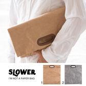 Hamee 日本 SLOWER BAG 牛皮紙袋造型 強韌不織布 防潑水 A4手提包 收納袋 (任選) 649-545122