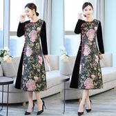 洋裝 加厚金絲絨拼接提花印花旗袍裙子中式改良復古中國風