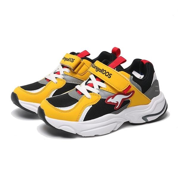 KANGAROOS 童鞋 FUSION 黑黃 魔鬼氈 越野 老爹鞋 中大童 (布魯克林) KK01294