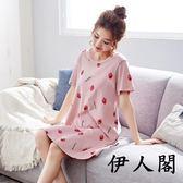 短袖中長睡裙少女睡衣可外穿家居服