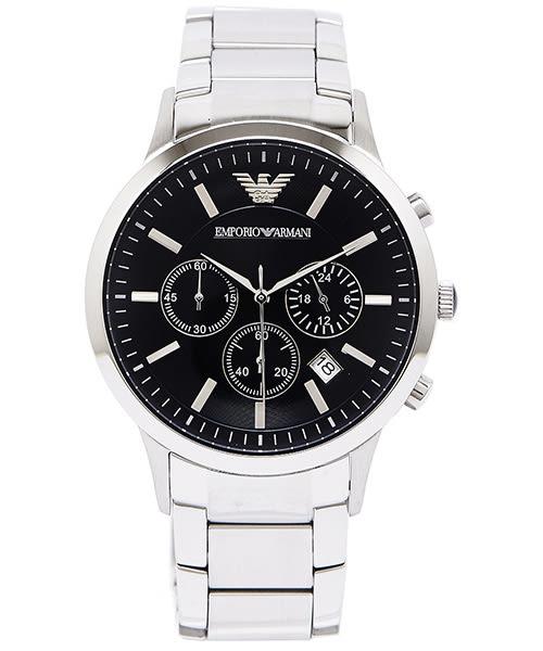 EMPORIO ARMANI Sportivo 輝煌時代三眼計時男性手錶(AR2434)-黑面X銀色 /42mm