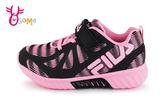 FILA 運動鞋 女童 反光系列 輕量慢跑鞋 O7639#黑粉◆OSOME奧森鞋業