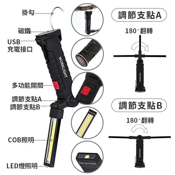 COB 工作燈 手電筒 照明燈 探照燈 手提燈 磁吸 旋轉 摺疊 USB 充電式 高亮度 LED 360度