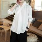 漢服男古風男士仙氣中國風男裝斜襟刺繡T恤7分袖唐裝唐朝古裝夏季 布衣潮人