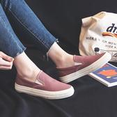 樂福鞋帆布鞋女春黑色套腳一腳蹬樂福鞋韓版百搭懶人鞋學生平底板鞋 新年禮物