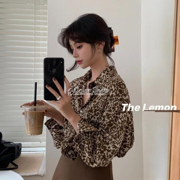 豹紋襯衫女春秋復古寬松設計感小眾時尚韓版港味印花長袖雪紡襯衣 快速出貨