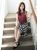 夏日520[H2O]格子布花朵裝飾立體剪裁針織上衣 - 紅/白/淺紫色 #9671006