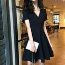 女短袖洋裝長裙適合微胖女人穿的連衣裙短袖洋氣高貴黑色V領顯瘦mm夏裝2020新款
