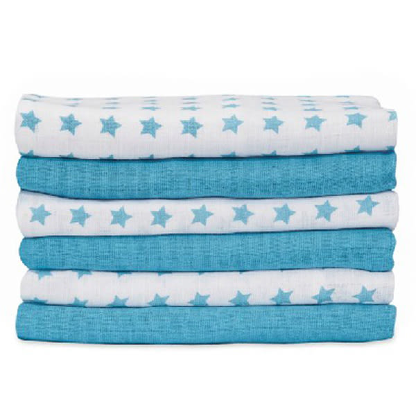 mothercare 藍色星星、粉紅愛心紗布巾6入