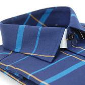 【金‧安德森】深藍底藍黃大線格保暖窄版長袖襯衫