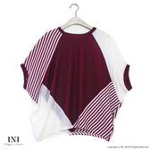 【INI】率性風格、連袖剪裁拼接設計上衣.紅色