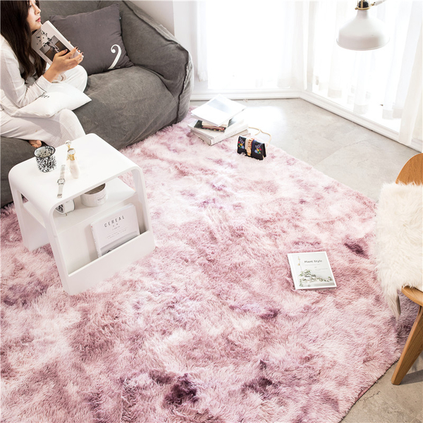 北歐風長毛絨扎染地毯-粉紫(120x190cm) BUNNY LIFE