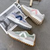 休閒鞋.韓風時尚顯瘦配色拼接麂皮運動鞋.白鳥麗子
