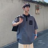 港仔文藝男 五分袖翻領寬鬆男士T恤夏季韓版潮流原宿短袖POLO衫