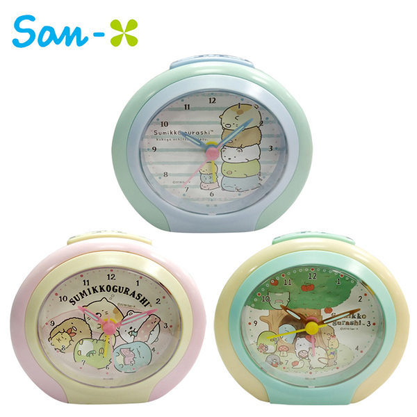 【日本正版】角落生物 橢圓鬧鐘 造型鐘 指針時鐘 夜燈功能 角落小夥伴 San-X 883919 883926 883933