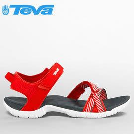 丹大戶外【TEVA】美國女款 VERRA 避震平底織帶吸震涼鞋/羅馬鞋/高抓地力拖鞋1006263 BSRD 條紋紅