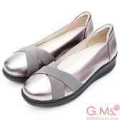 G.Ms. 牛皮交叉鬆緊帶厚底坡跟鞋*銀色
