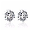 925純銀 正立方體 天然白水晶 耳環耳針釘-銀 防抗過敏