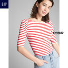 Gap女裝 條紋圓領修身短袖T恤 296120-粉色條紋