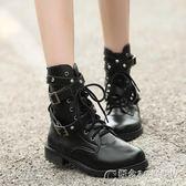 柳丁靴朋克短靴歐美機車靴子厚底馬丁靴羅馬鉚釘大碼女鞋 概念3C旗艦店
