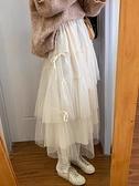 韓版學生氣質高腰顯瘦網紗半身裙女2021冬季新款寬松蛋糕裙長裙潮 童趣屋