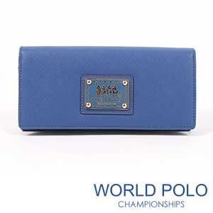世界保羅WORLD POLO深色誘惑二折式多隔層長夾/海洋藍