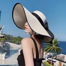 沙灘帽 草編草帽女沙灘海邊出游遮陽帽度假防曬大檐帽夏天網紅太陽帽子夏