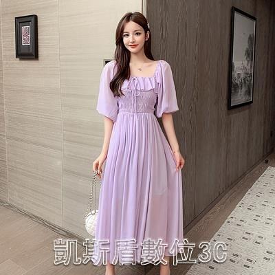2021夏季新款度假海邊法式荷葉邊泡泡袖雪紡連身裙超仙女長裙子洋裝 【快速出貨】