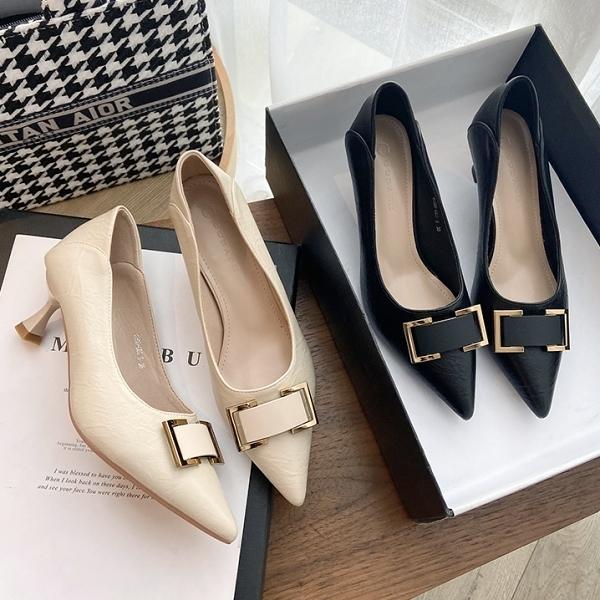 可後踩.韓系氣質優雅方框金屬釦低跟包鞋.白鳥麗子