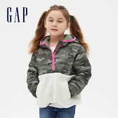 Gap女童 活力迷彩仿羊羔絨拼接連帽外套 617060-綠色迷彩